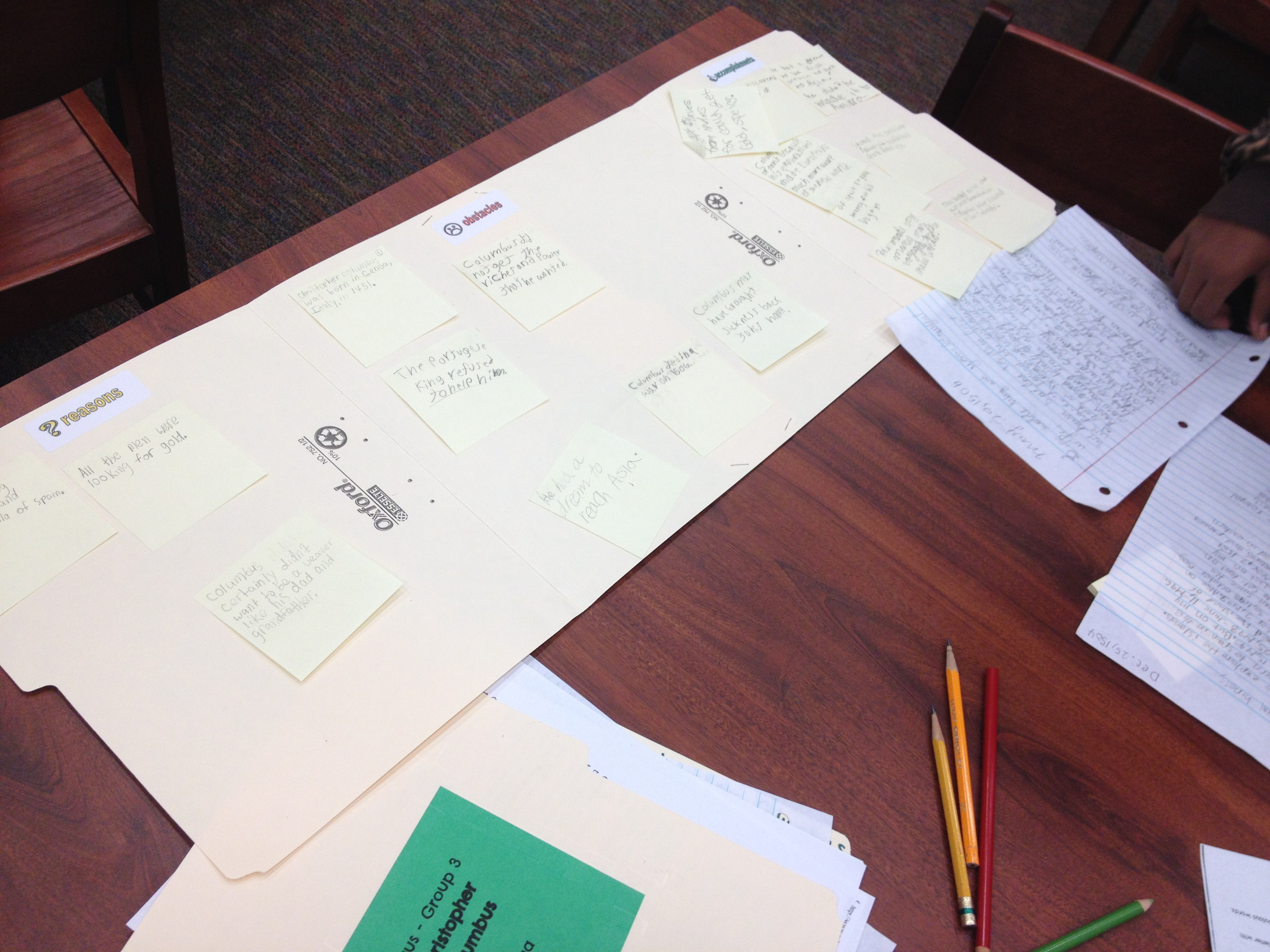 The file folders served as both a graphic organizer and an easy way to