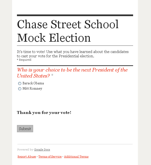 Students used this ballot (created with Google Forms) to cast their ...