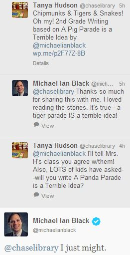 My twitter conversation with author Michael Ian Black. How cool!