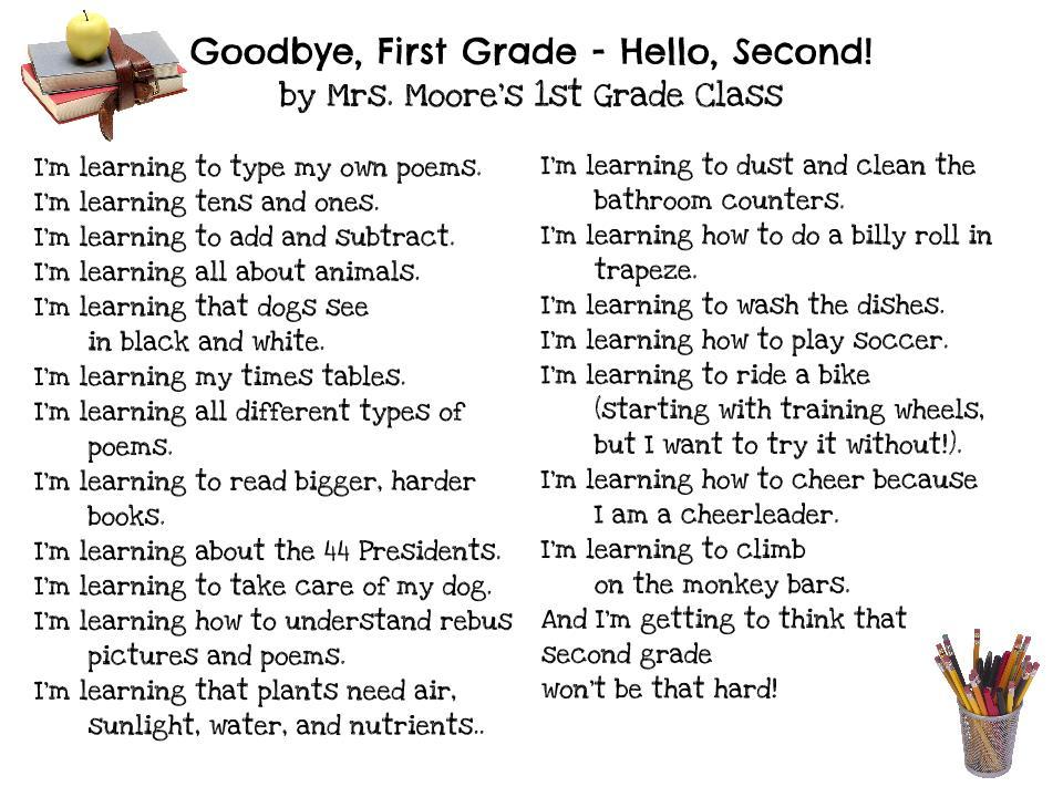 Kindergarten Goodbye Poem 1st grade poems inspired by