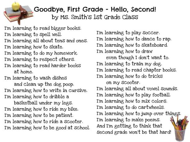 goodbye 1st grade hello 2nd 1st grade poems inspired by judith viorst tree frog blog. Black Bedroom Furniture Sets. Home Design Ideas