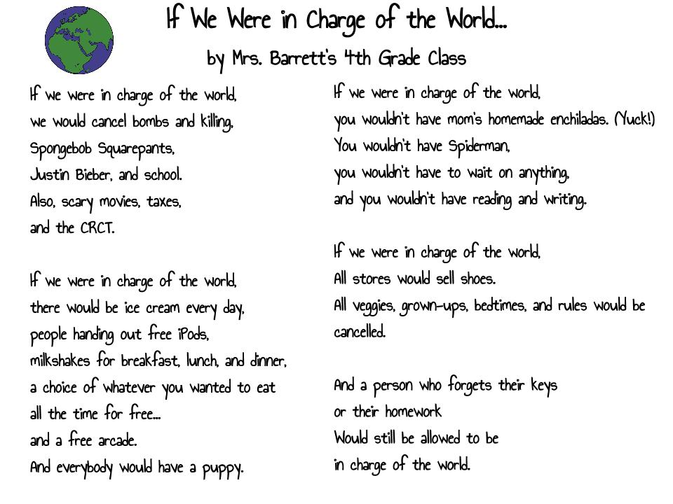 if we were in charge of the world by mrs barrett s 4th grade class